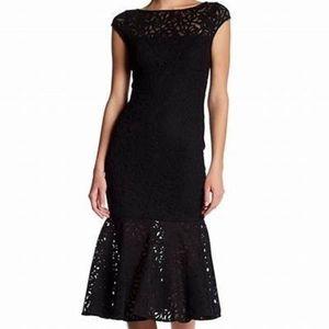 Jay Godfrey Illusion Lace Cap Sleeve Dress